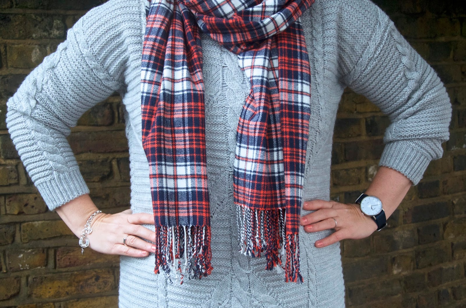 navy, orange & white plaid scarf