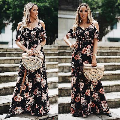 vestido longo maxi floral