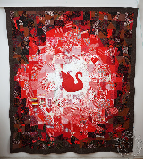 red patchwork quilt