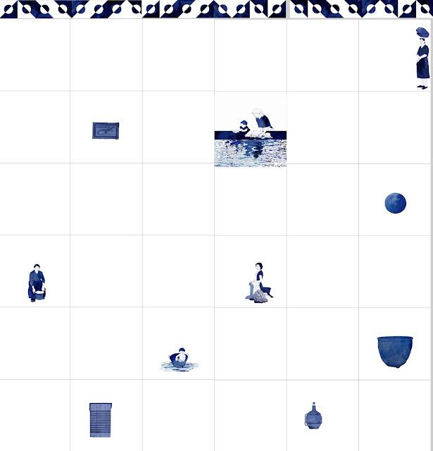 Lavadero, azulejos, cerámica azul, mujer