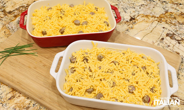 These au-gratin fashion cheesy, creamy scalloped potatoes are taken over the pinnacle with 2 cheeses and the addition of sausage. They are so specific they disappear like magic!