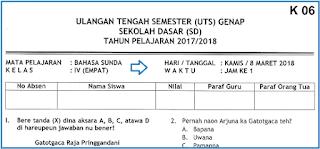 Soal UTS 2 Bahasa dan Sastra Sunda Kelas 4 SD Terbaru
