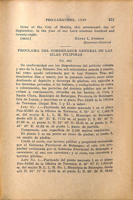Proclamation No. 184 s. 1928 Spanish version.