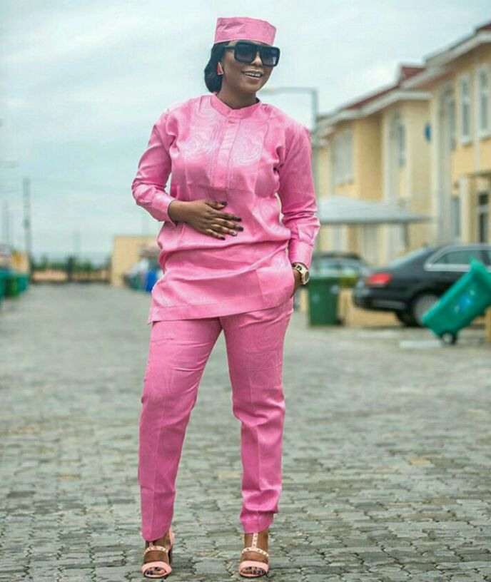 Woman wearing men's wear for Sunday