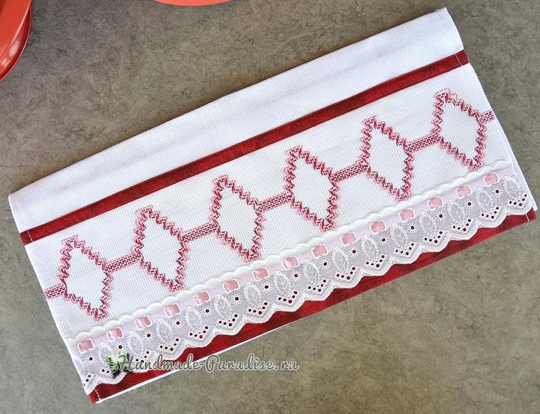 Декорирование полотенца вышивкой счетными швами или протяжками (3)
