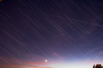 star trail and twilight