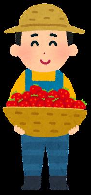 果物農家の人のイラスト(いちご)