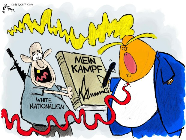 Donald Trump autographing copy of Mein Kampf held up by heavily armed white supremacist.