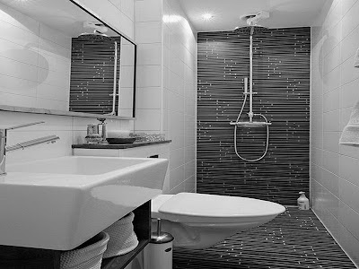 Cool bathroom floor tile ideas with black and white tile