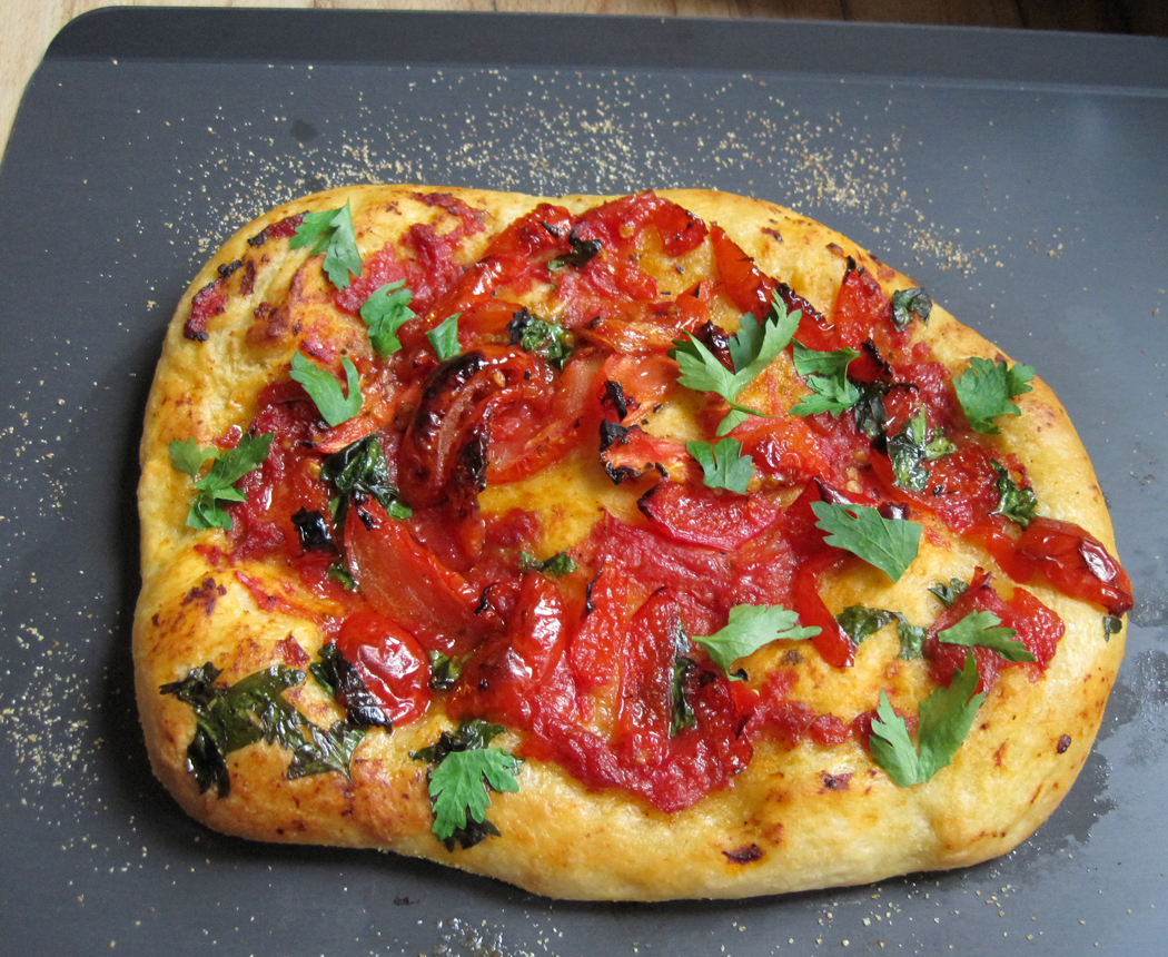 Pepper and SunBlush Tomato Flatbread on Baking Tray