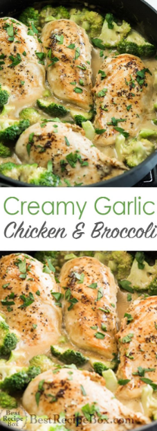 Creamy Garlic Chicken with Broccoli is a household favorite for everyone in the family. This is the perfect one-pot chicken recipe with a homemade creamy garlic sauce when you're in need of something delicious, satisfying and easy for a weeknight dinner. Add your choice of pasta or rice to soak up all the delicious creamy garlic sauce.