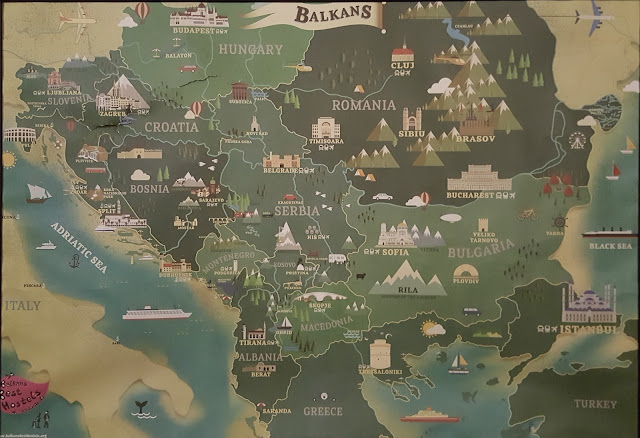 Super cool map of the Balkans, from the hostel in Prizren