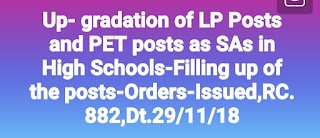 Up- gradation of LP Posts  and PET posts as  SAs in High Schools-Filling up of the posts- Orders- issued,RC.882, Dt.29/11/18