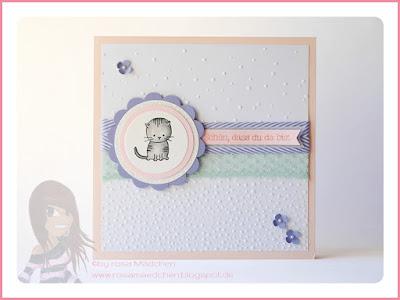 Stampin' Up! rosa Mädchen Kulmbach: Babykarte mit Kätzchen aus dem Set Zum Nachwuchs