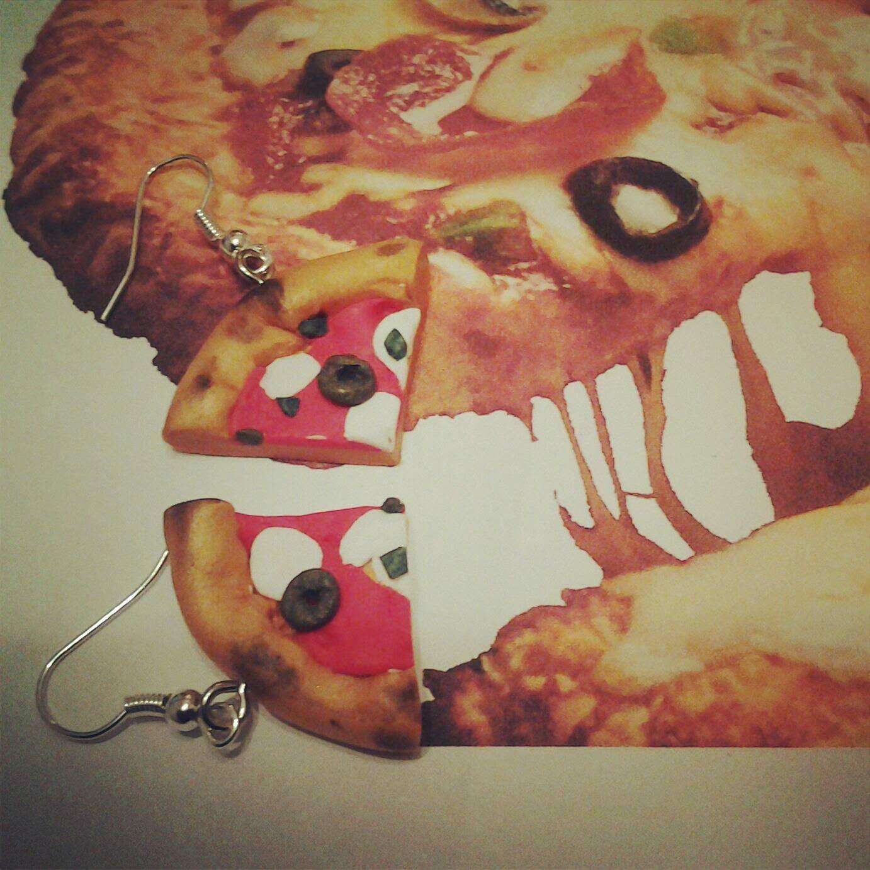 orecchini pizza in fimo