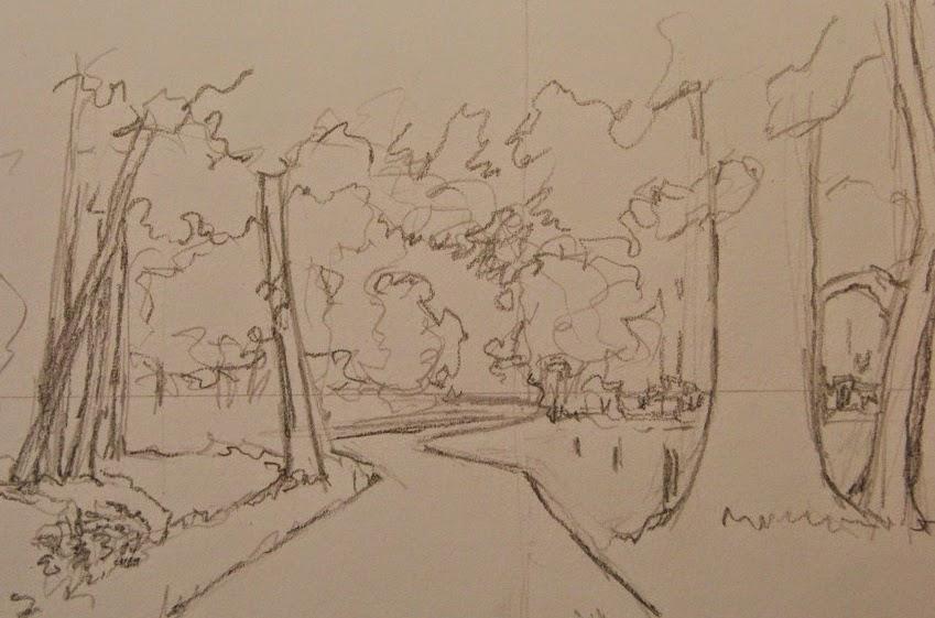 schets, plein air, tekenles, landschap tekening,