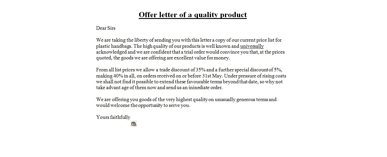 offer letter of quality product