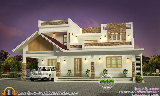 3392 sq-ft 4 bedroom mixed roof house architecture