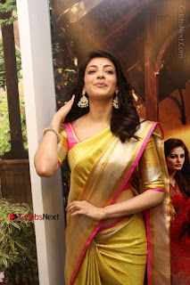 Actress Kajal Agarwal Stills in Golden Silk Saree at Trisha Sesigner Store Launch  0053.jpg