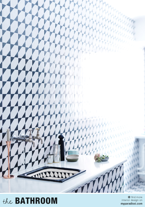 Patterned tiles in bathroom styled by Lo Bjurulf