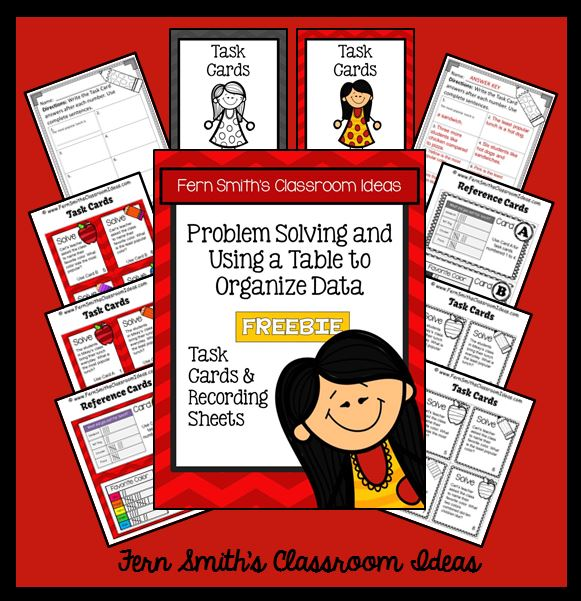 Fern Smith's Classroom Ideas FREE Problem Solving and Using a Table to Organize Data Task Cards and Answer Sheet ~ School Themed at teacherspayteachers.