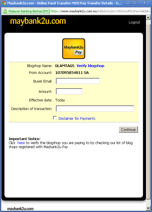Maybank2u Pay transaction screen