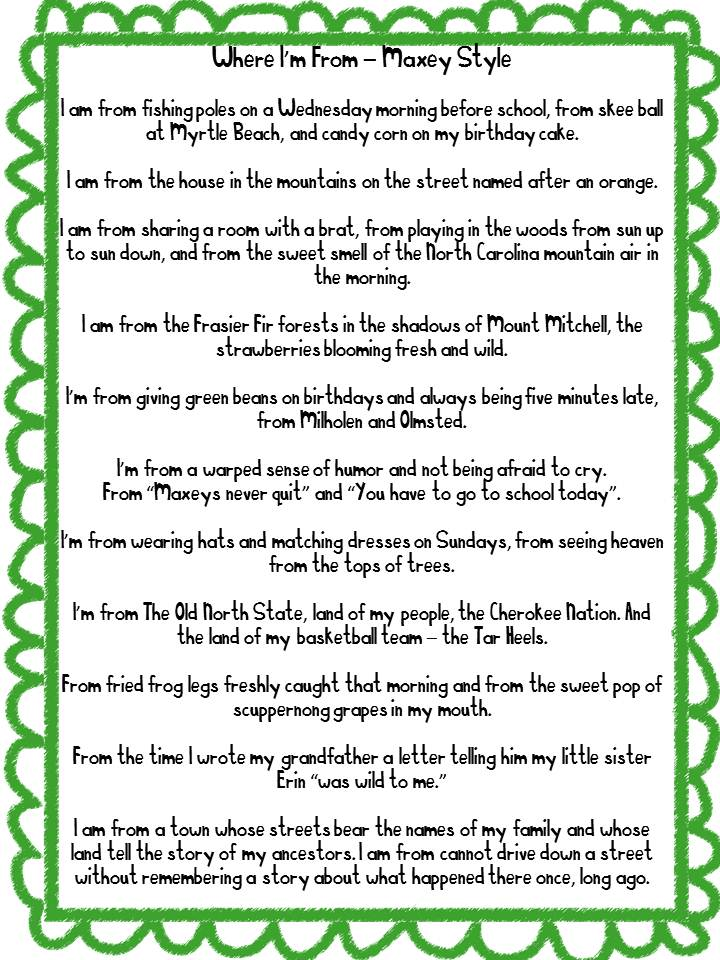 where i am from poem template - i am poem examples for high school josh wise poetry book