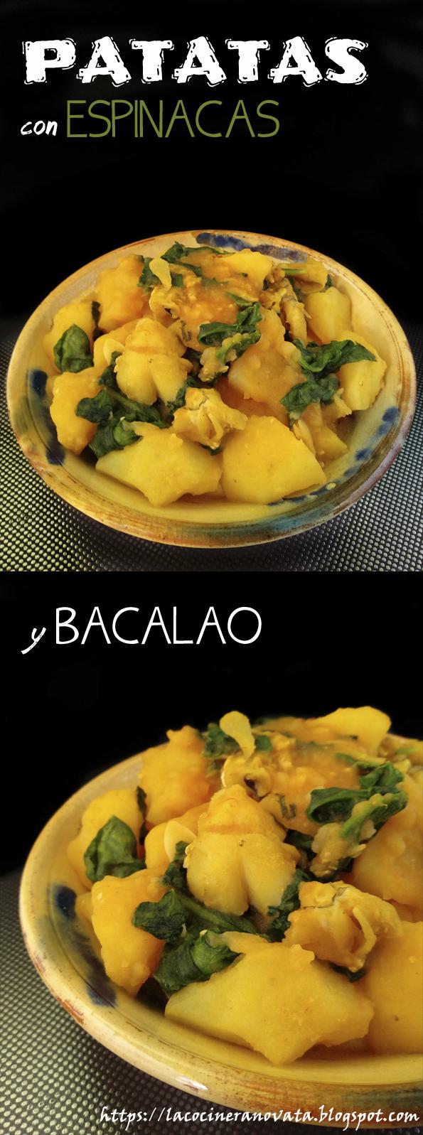 PATATAS CON ESPINACAS Y BACALAO la cocinera novata pimiento choricero receta cocina gastronomia vegano vegetariano guiso bajo en calorias recetas para pobres crisis