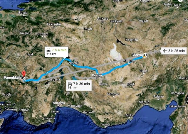 Goreme to Pamukkale route