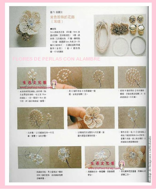 flores, perlas, bisutería, flor, manualidades, abalorios