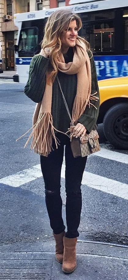 how to style a nude scarf : sweater + black skinnies + boots + bag