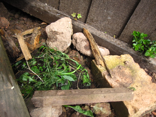 Stones, grass and pieces of wood laid out