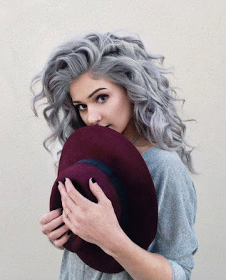 gray hair with sharp curls