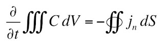 The integral form of the continuity equation.