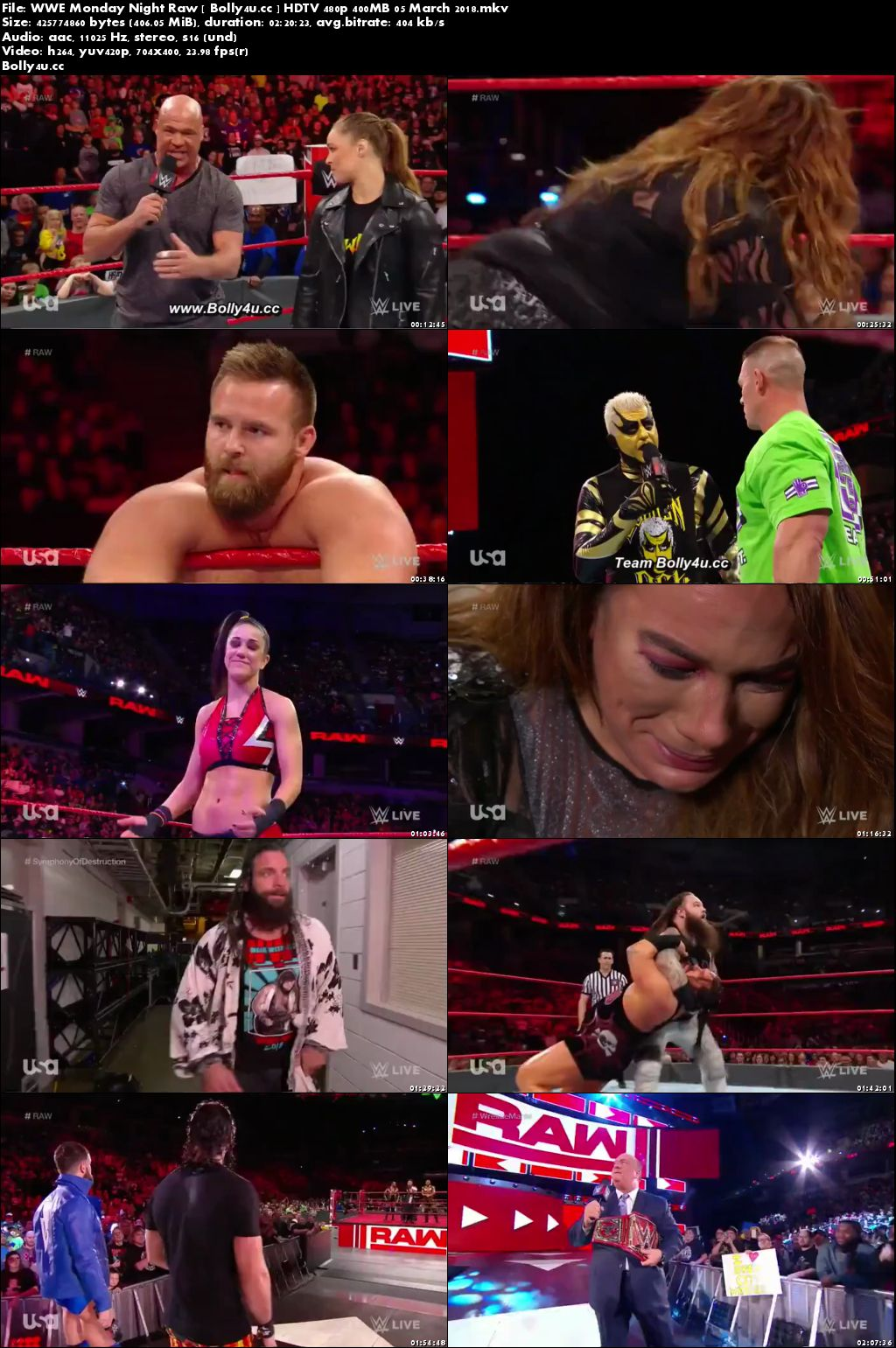 WWE Monday Night Raw HDTV 480p 400MB 05 March 2018 Download