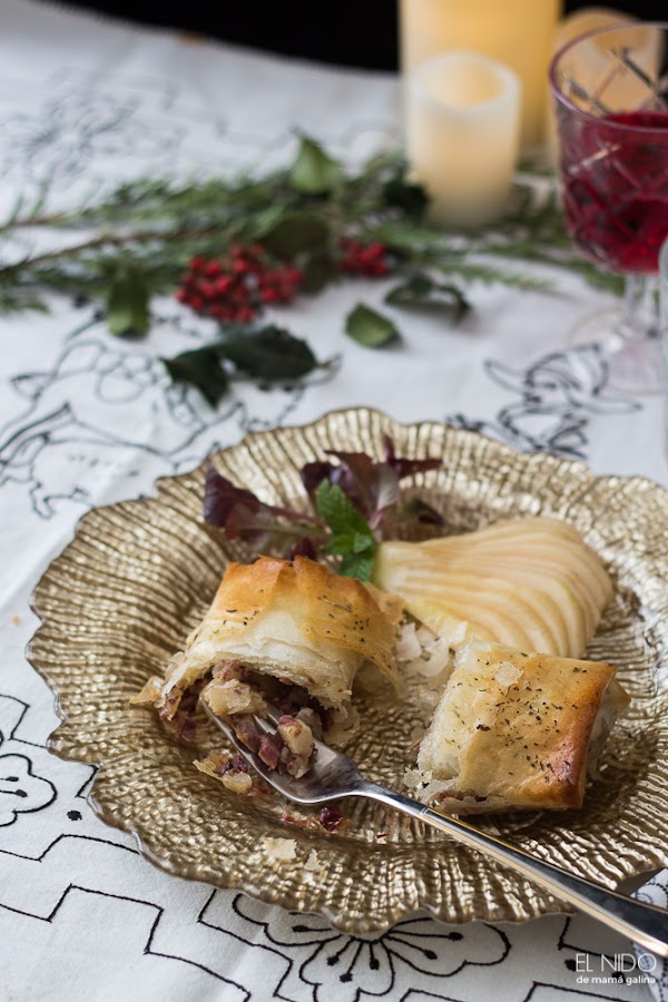 duck and pear rolls