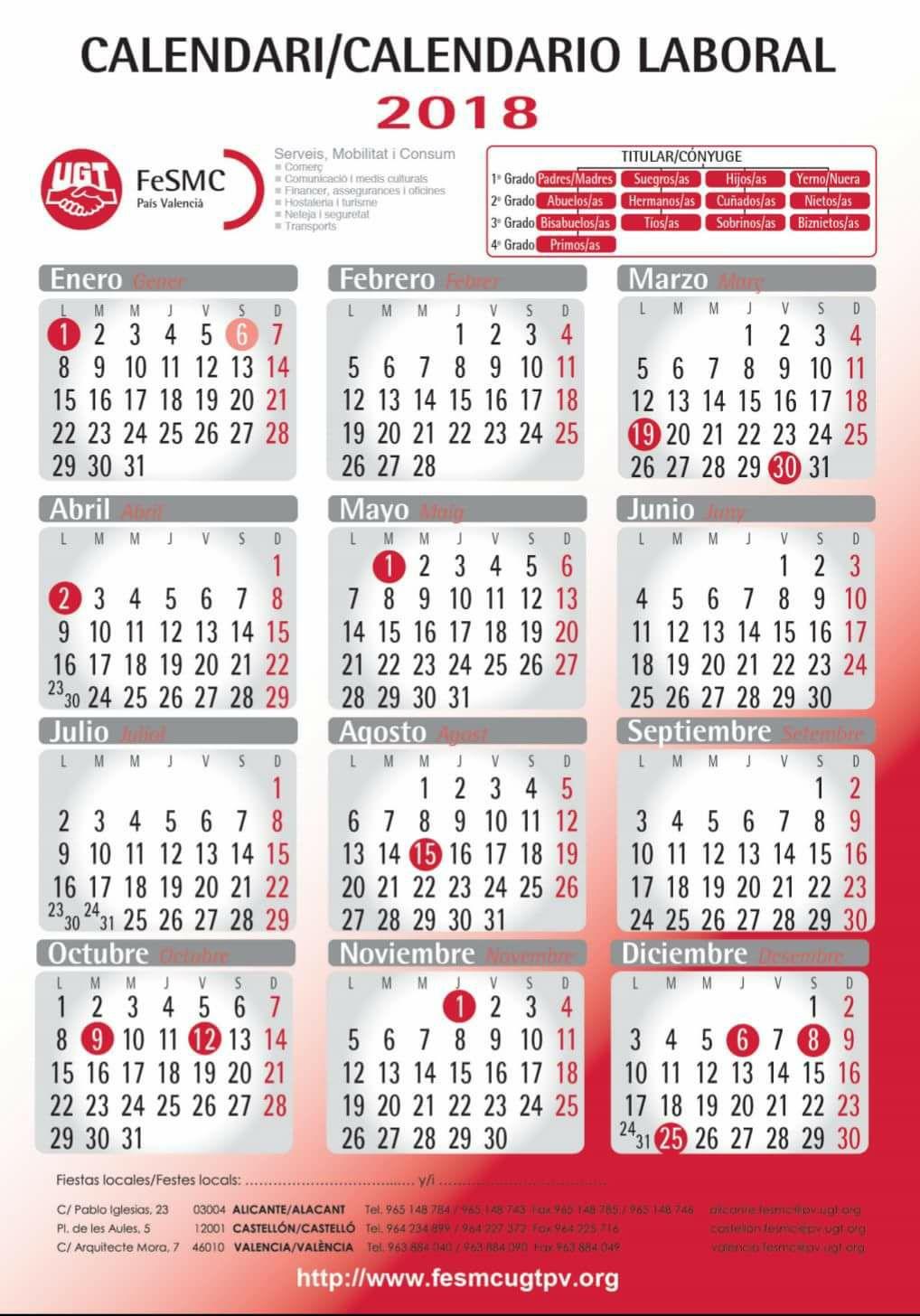 Comit de empresa lidl ugt provincia de alicante for Festivos alicante 2017