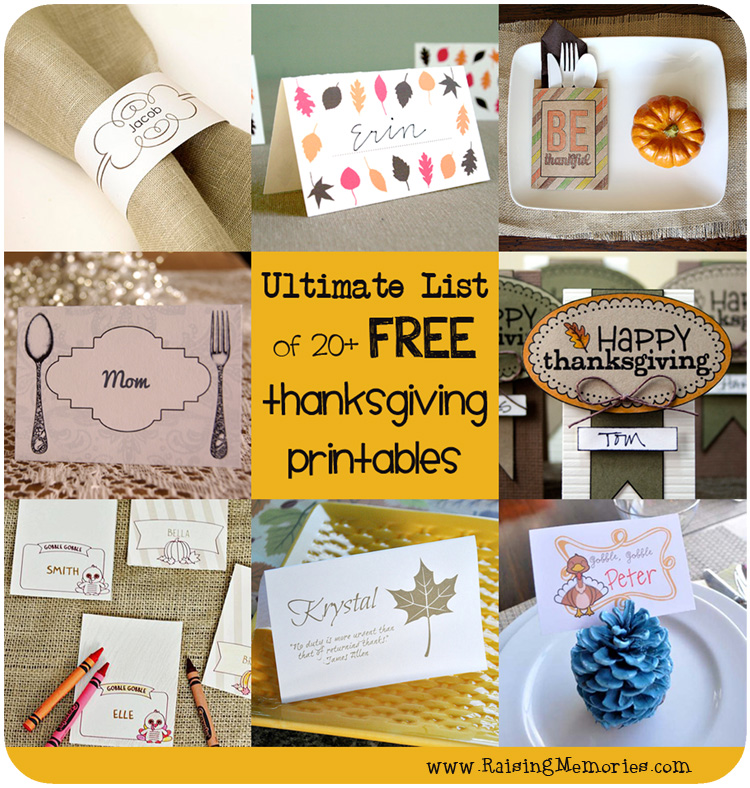 Ultimate List of Free Thanksgiving Printables