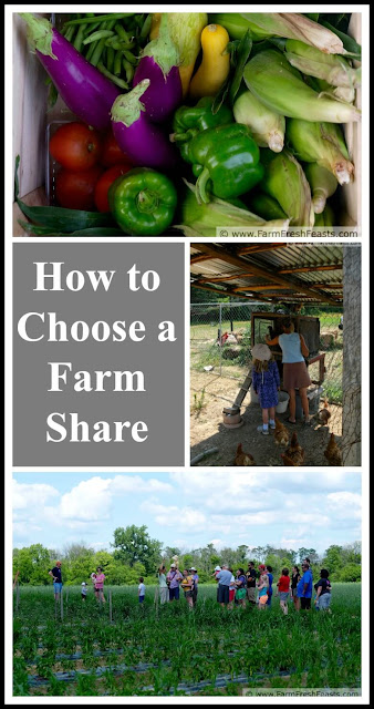 Factors to consider when choosing a Community Supported Agriculture (CSA) farm share.