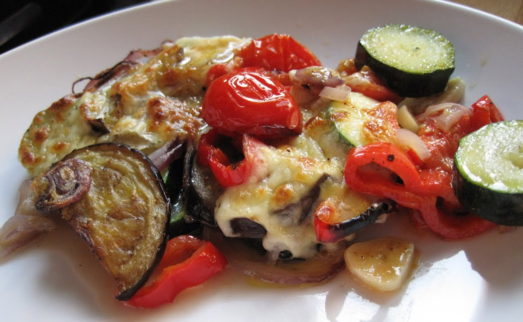 Roasted Vegetables with Mozzarella Cheese