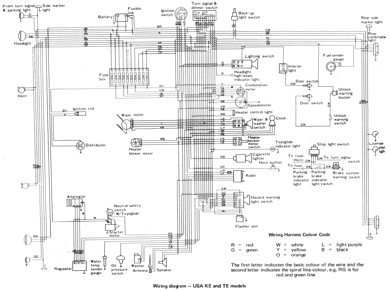 Free Auto Wiring Diagram: 1974 Toyota Corolla Wiring Diagram