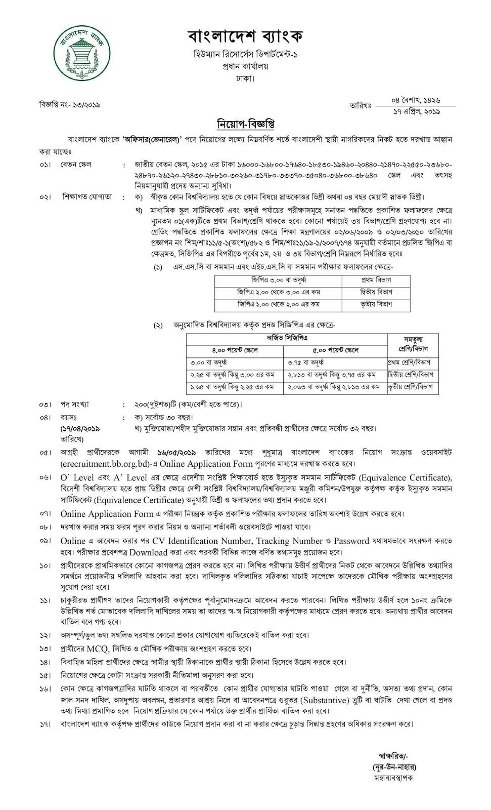 Bangladesh Bank (BB) Officer (General)  Job Circular 2019