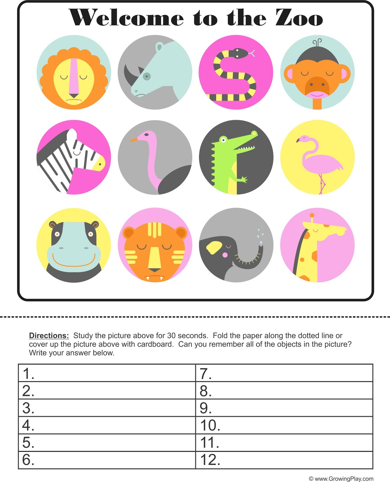Growing Play: Memory Challenge - Welcome to the Zoo