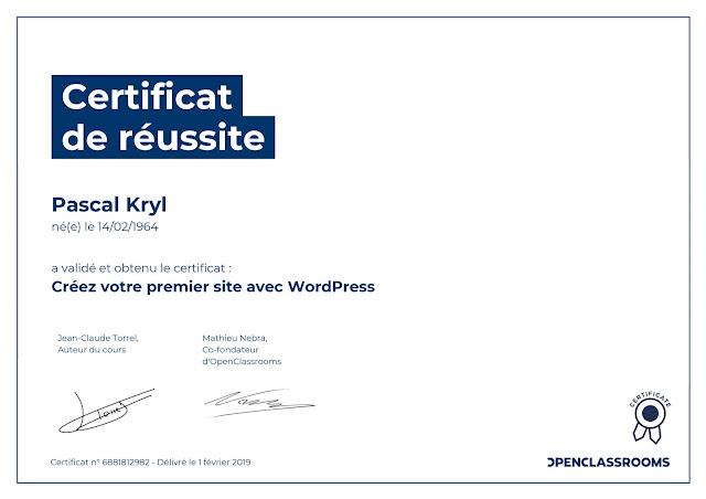 Certificat Réussite Créez votre premier site avec WordPress.
