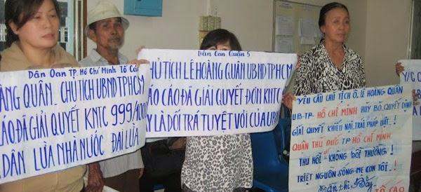 Dân oan Sài Gòn yêu cầu chủ tịch thành phố giải quyết dứt điểm các vụ khiếu kiện kéo dài hàng chục năm