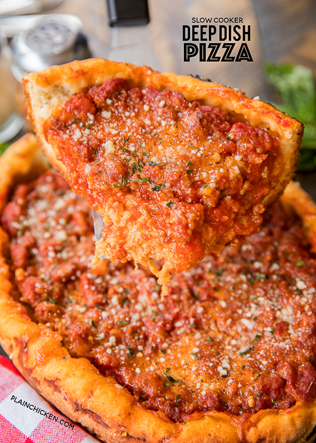 Slow Cooker Deep Dish Pizza - seriously delicious! Fresh pizza dough topped with mozzarella, homemade meat sauce and your favorite toppings. You'll be amazed at how easy it is to put together and how delicious it comes out #pizza #chicagostylepizza #deepdishpizza #slowcooker