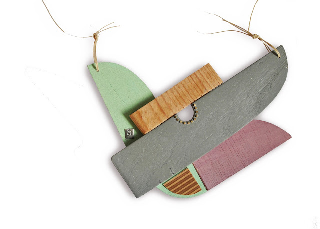 pendant recovered wood acrylic paint jewellery  Eva Burton