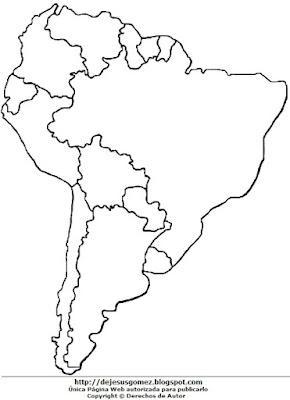 Imagen del Mapa América del Sur sin nombres para colorear pintar imprimir. Dibujo de mapa de Jesus Gómez