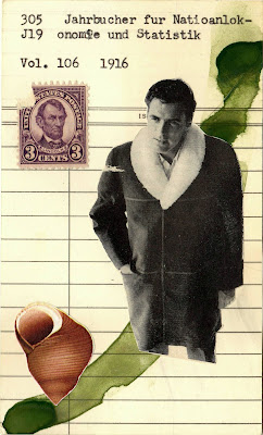 Lincoln postage stamp United states purple 3 cents male model fur lined coat ad seashell library card Dada Fluxus mail art collage