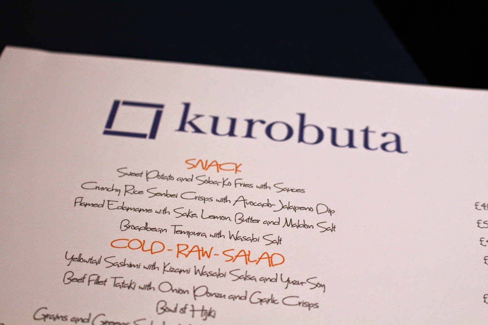 Kurobuta Marble Arch | London menu